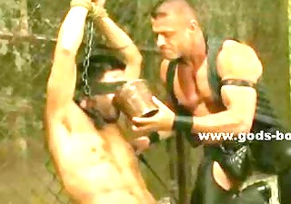 angry homo hunk tied in chains perverted in total