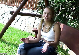 blond blue gal parts her legs on cam with no shame