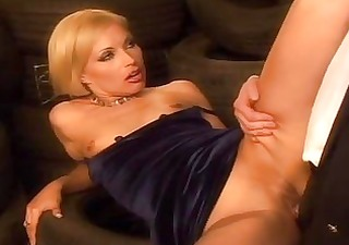 cute golden-haired stewardess can to play with